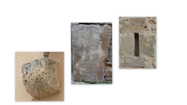 Machón, losa con inscripción y saetera