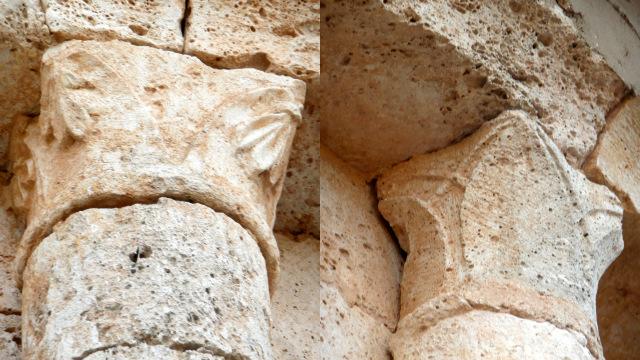 Capiteles de remate de las columnas del ábside de Reveche