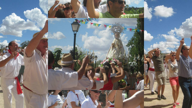 collage con fotos de la danza a la Virgen en 2014