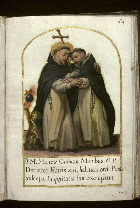 Los dos hermanos, santo Domingo y el beato Manés se abrazan