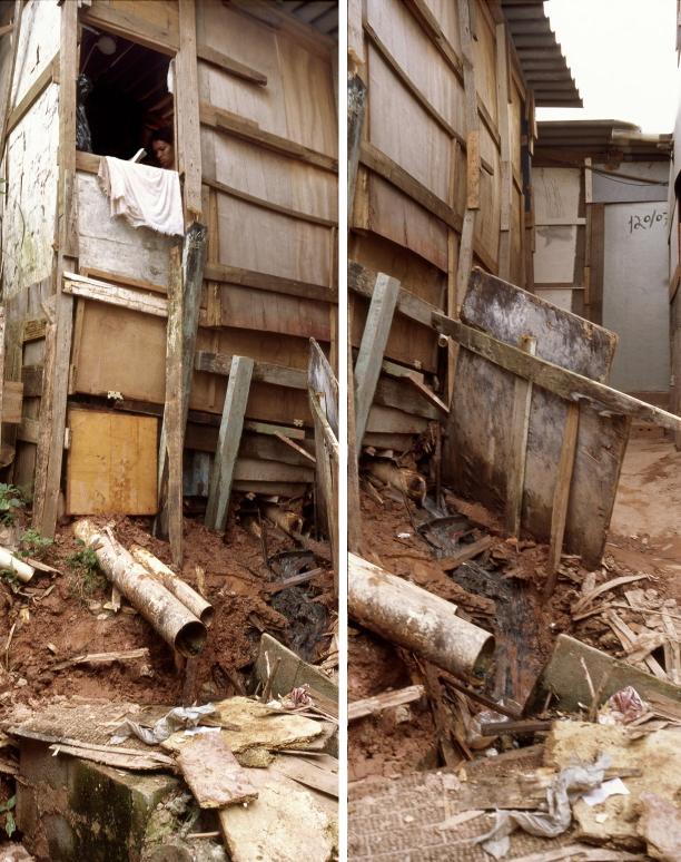 Vivienda precaria construida sobre escombros